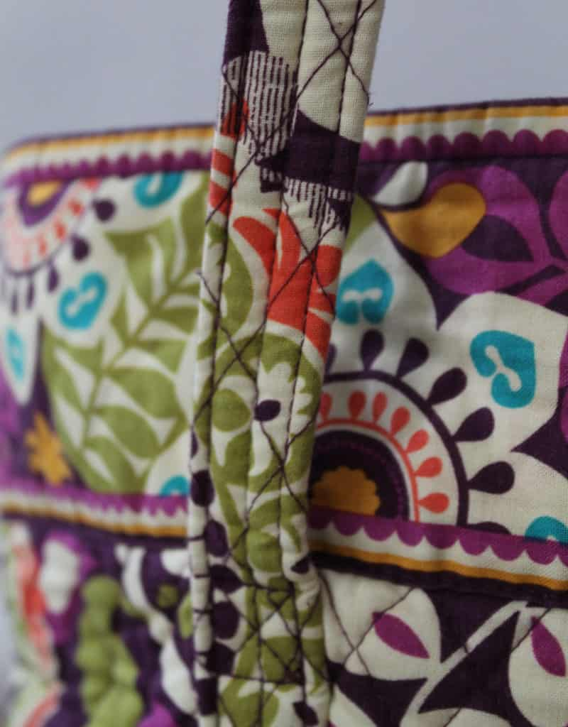 Up close look at a Vera Bradley tote strap