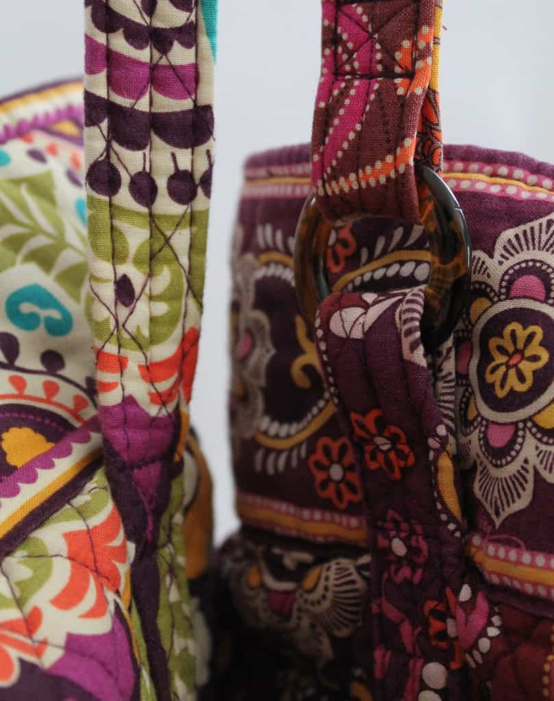 Comparing old and new Vera Bradley tote bag straps