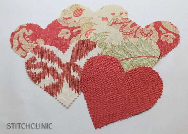 Fabric ready to sew into Valentine hearts