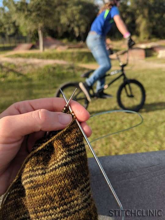 Knitting at the BMX track