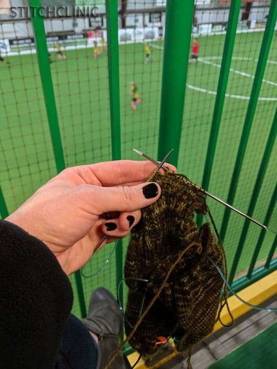 Knitting at indoor soccer