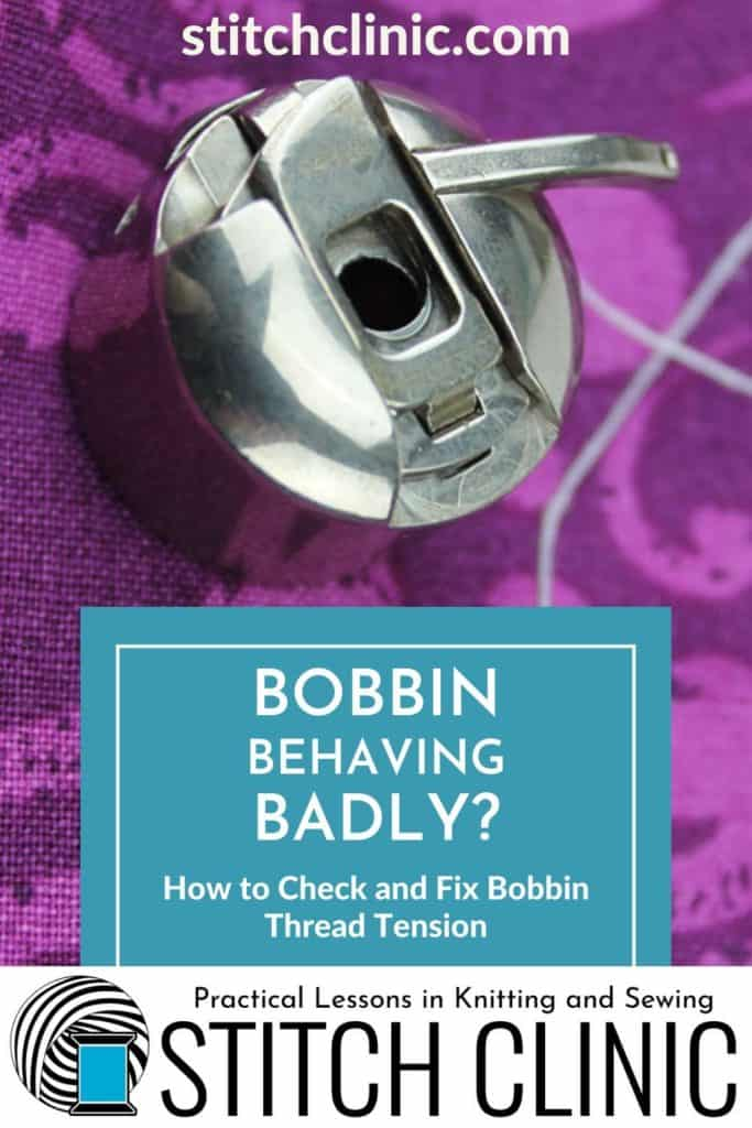 Bobbin on purple fabric