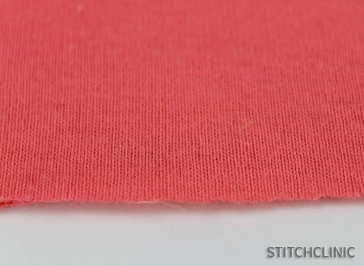 Up close view of commerically made knit fabric